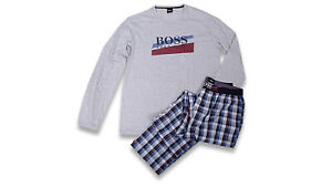 Hugo Boss Pyjama Urban M grau/blau/rot Baumwolle Elasthan lang im Schlampersack