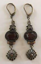 Retired Lia Sophia Antiqued Gold Toffee & Rhinestone Drop Pierced Earrings