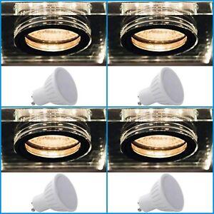 4x SOREN 6W LED Two Tone GU10 Square Cool White Warm Recessed Ceiling Fixture