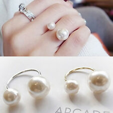 Women 18K Gold Plated Double Pearl Engagement Ring Adjustable Size