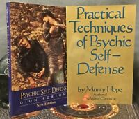 2 SC OCCULT BOOKS 1) DION FORTUNE 2) MURRY HOPE ON PSYCHIC SELF-DEFENSE ~ MAGICK