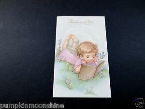 Vintage Unused Gold Embossed Thank You Greeting Card Angel Reading Book w/ Bird