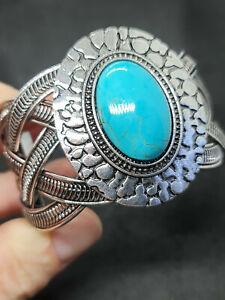 gorgeous turquoise silver free size ladies bracelet
