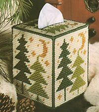 WINTER TREES TISSUE BOX COVER PLASTIC CANVAS PATTERN INSTRUCTIONS