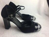 Liz & Co Women's Size 9 M Ankle Strap Pumps Heels Shoes Black & Silver