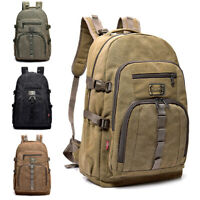 35L Men Vintage Canvas Backpack Rucksack Bag Camping Travel School Satchel