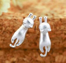 Ohrstecker Ohrring ausgestreckte liegende Katze Sterling Silber 925