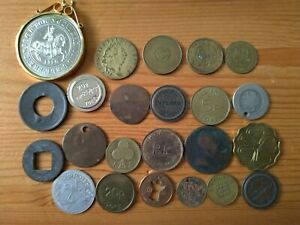 JOB LOT OF VARIOUS OLD BRITISH & WORLD TOKENS, MIX medal, coins