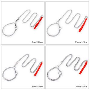 Stainless Steel Large Dog Collar & Leashes Pet Neck Traction Chain Lead Necklace