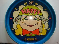 """Vintage Peter Max """"Happy"""" Face Colorful Round 13"""" Serving Tray Blue Rim & Bottom"""