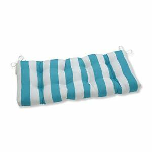 """Pillow Perfect - Outdoor/Indoor Cabana Stripe Tufted Bench/Swing Cushion 44"""" ..."""