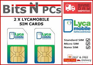 2 x LYCAMOBILE PLUS SIM CARDS - Includes Standard/Micro/Nano SIM