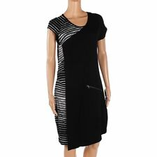 Kello Dress Black White Stripe Side Cap Sleeved Jersey Size 40 / UK 14 VV 224