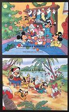 ANTIGUA DISNEY CHRISTMAS STAMPS 2 S/S 1986 MNH DISNEY BABIES SANTA REINDEER