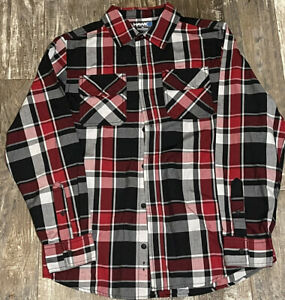 Tony Hawk Button Down Shirt Red Black Plaid Boy's Youth Top Size XL SS