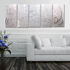 WHITE/SILVER Abstract DECORATOR Metal Wall Art Modern Painting  ARTIST Jon Allen
