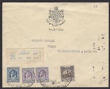 TRANSJORDANIE. : Enveloppe RECOMMANDEE de AMMAN 1950 pour PARIS avec 4 timbres