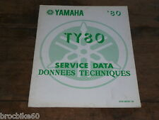 FICHE DONNEES TECHNIQUE YAMAHA TY 80 TRIAL 1980 -> service data 2V9-28197-70