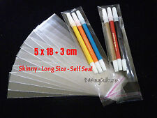 50 CELLOPHANE BAGS - 5 cm x 18 cm +3 cm lip - Long Size - SELF SEAL