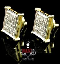 Men's New Sterling Silver Yellow Gold Finish .25Ct Genuine Diamond Stud Earrings