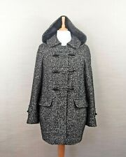 Phase Eight Hooded Duffle Coat Black Marl  Size S UK8-10 Pockets Toggle Buttons