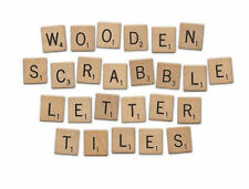 100 WOOD SCRABBLE TILES WOODEN BLACK LETTERS BOARD CRAFTS GENUINE UK SELLER