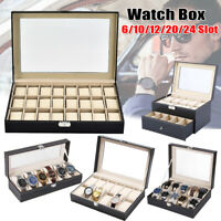 6 10 12 20 24 Slot Watch Box Display PU Leather Case Jewelry Organizer Holder