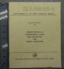 ARMY TM 9-2320-225-10 OPERATOR'S MAN. FOR M422 & M422A1 UTILITY TRUCK #BK672