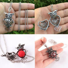 Retro Hollow Owl Shape Locket Cage Opened Chain Necklace Pendant Jewelry Gift
