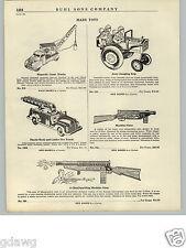 1940- 50's PAPER AD G Man Men Toy Machine Gun Sparkling Magnetic Crane Army Jeep