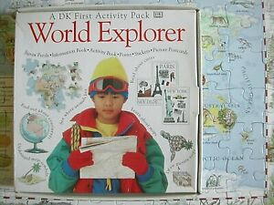 DK First Activity Pack WORLD EXPLORER 2 Books, Puzzle, Poster Educational 5+ EUC