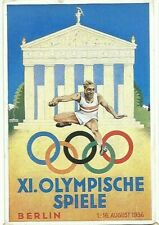 Original German postcard; 1936 Berlin Olympic Games w/stamp & event cancellation