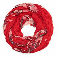 Damen Schal Blumen-Muster rot gepunktet Halstuch Loopschal Loop Rundschal Neu