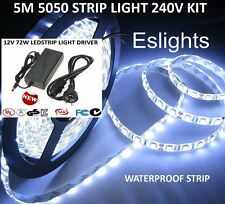 5M 5050 FLEXIBLE 240V WATERPROOF LED STRIP LIGHT POWER SUPPLY KITCHEN BENCH