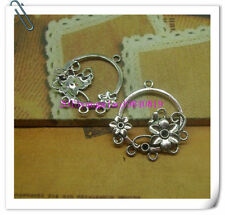 Free shipping 8 PCS antique silver filigree flower charm necklace pendant