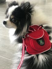 NWT Pet Soft Adjustable Backpack Harness With Leash Set For Small Dog Cat Red