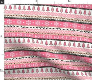 Christmas Xmas Holidays Snowflakes Trees Stripes Spoonflower Fabric by the Yard