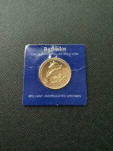 1975 BARBADOS $100 BU GOLD COMMEMORATIVE