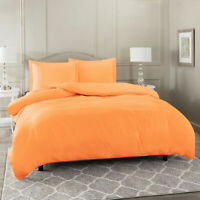 Duvet Cover Set Soft Brushed Comforter Cover W/Pillow Sham, Light Orange - Twin