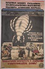 WW1 Red Army new problem typhus louse propaganda big poster