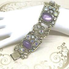 Vintage SELRO Bracelet 3 Panel Purple Moonstone Rhinestone Cuff Bracelet Signed