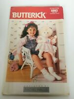 "Butterick Sewing Pattern 6996 Rachel Wallis 23"" Baby Doll and Clothes Dress 1988"