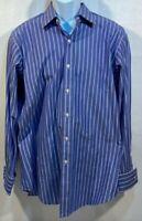 Polo Ralph Lauren Mens Curham Dress Shirt Blue White Stripe 100% Cotton 16 1/2
