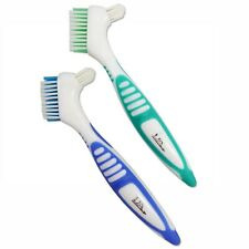 Denture Brush Set of 2 ~ Easy Hold Double Sided Firm Bristles & for Retainers