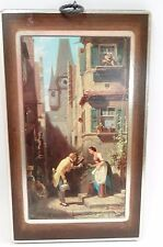 VTG Carl Spitzweg Der Gratulant The Wisher Wooden Art Plaque Print Wall Hanging