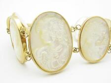 14k Yellow Gold & Mother of Pearl Cameo Design Station Tennis Bracelet Gift