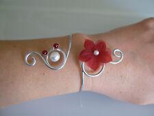 Bracelet Rouge/Bordeaux/Blanc original robe Mariée/Mariage/Soirée fleur pas cher