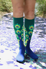 Peacock Plume - Sock it to me NEW derby bird Novelty Knee High Socks