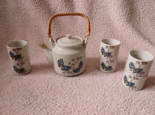 Vintage Otagiri Hand Painted Japan Stoneware Tea Pot and  6 Cups Set Butterfly