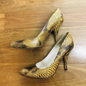 Wittner Woman's yellow multi snake Print leather heels Pumps Work Wear size 37